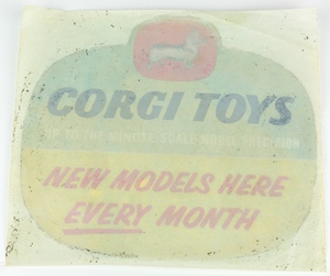Corgi toys window sign x302