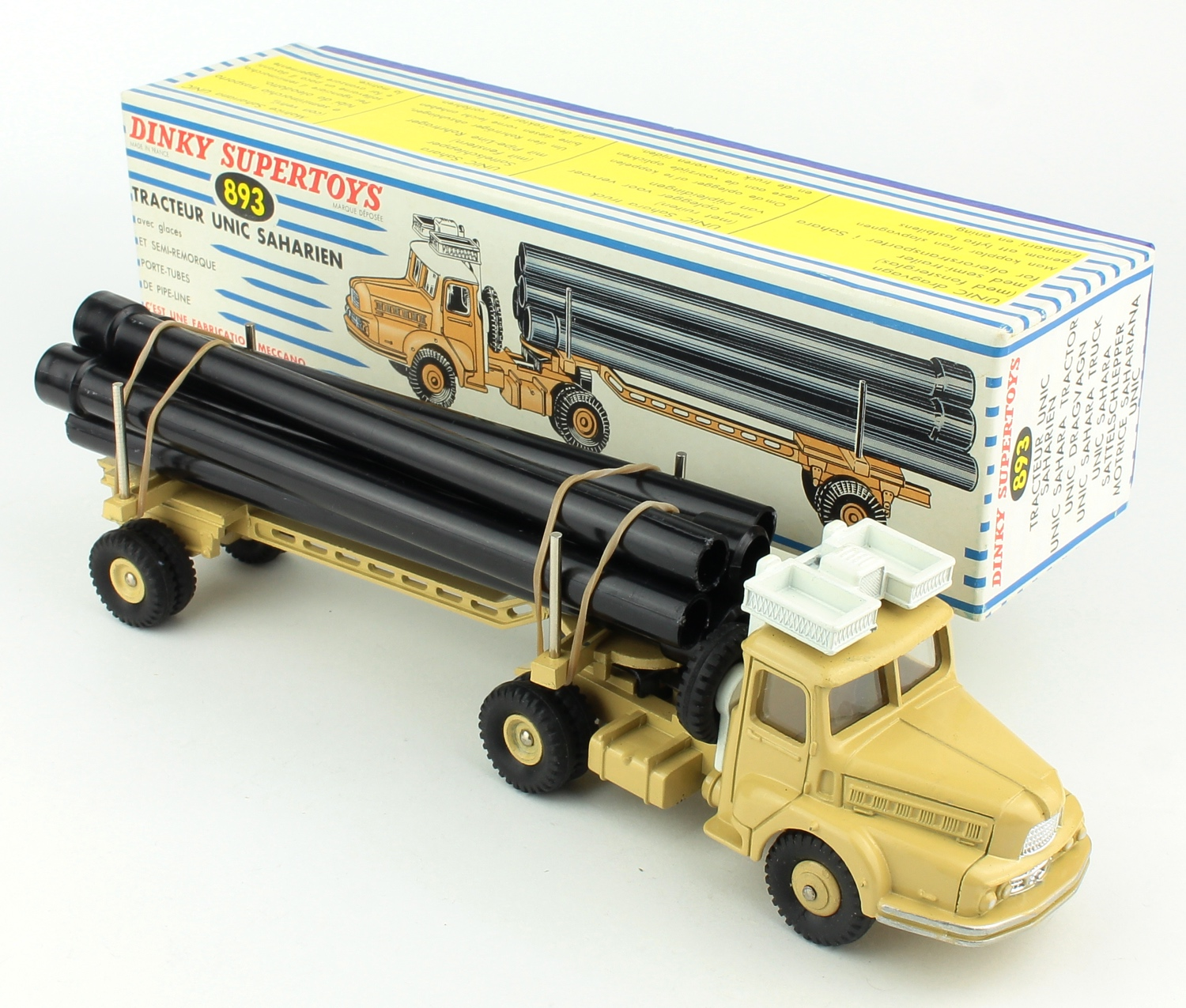 French dinky 893 unic sahara pipe laying truck yy379