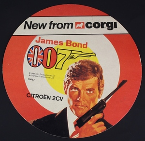 Corgi james bond circular display card
